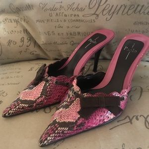 Linea paolo heel pink and brown snake skin